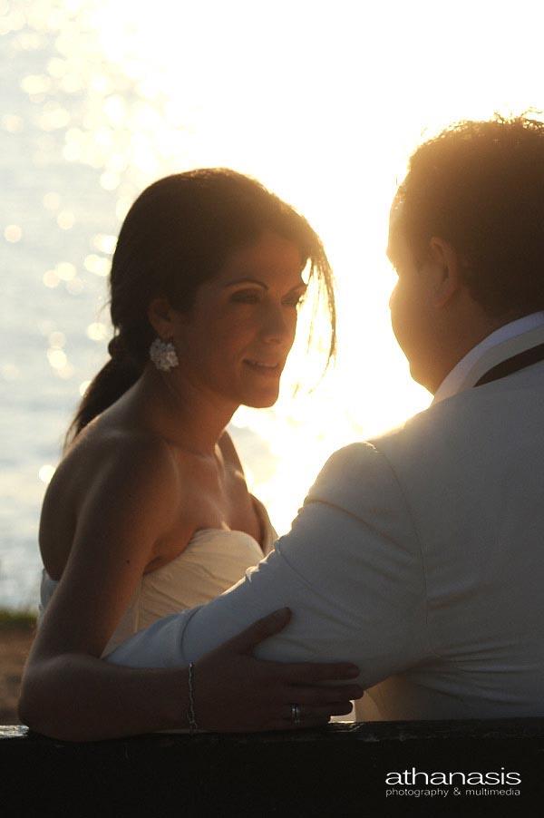 πορτραίτο νύφης στην δύση του ηλίου